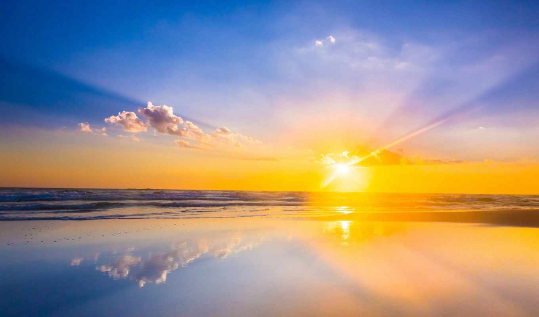 rising, море, sun, waves, горизонт, oblaka,