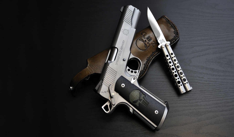 нож, пистолет, кобура, бабочка, пистолеты, оружие, springfield, армия, punisher,