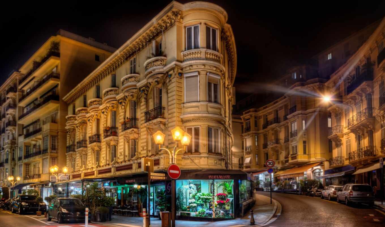 monaco, nuit, город, ночь, mobile, building, rue, carlo, монте, цвета