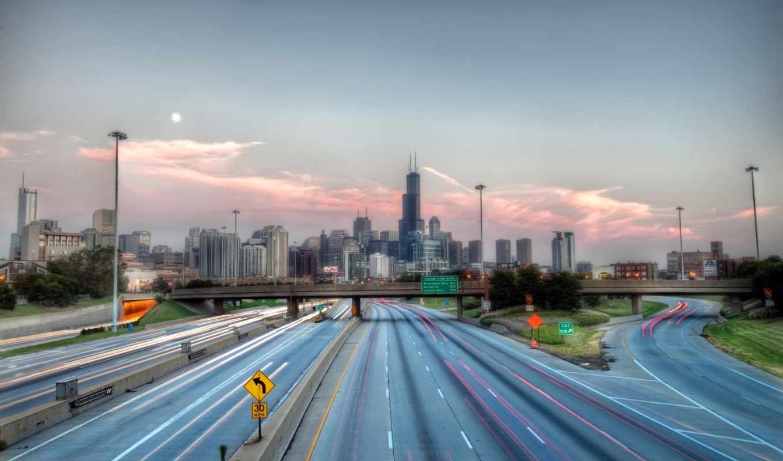 дорога, иллинойс, чикаго, город, мост, картинка, hdr, картинку, мыши, кнопкой, ней, выберите, правой, usa, cityscapes, highway, save, скачивания,