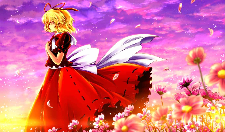 аниме, touhou, medicine, melancholy, similar, девушка,, pole, поле, арт, colors