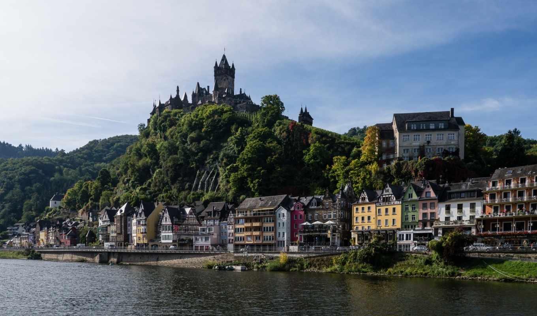 река, германия, красивые, мира, кохем, замок, moselle, cochem, здания, набережная,
