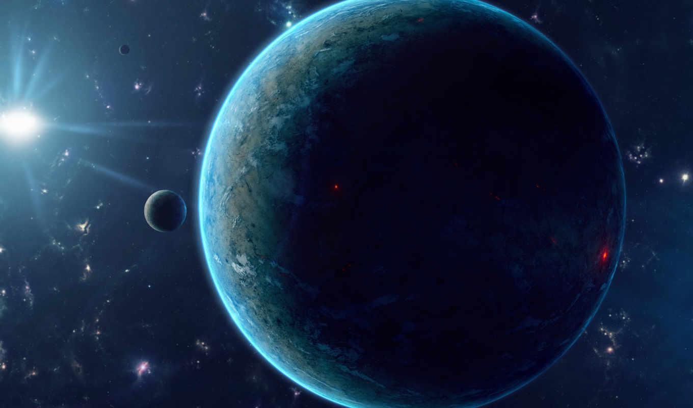 рельеф, planet, звезды, гладь, спутник, high, fantasy, sun, definition,