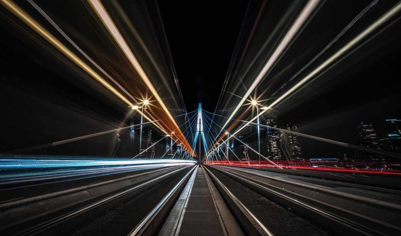 мост, огонь, free, выдержка, свет, город, вертикальный, река, ночь, качественные, stoloboi