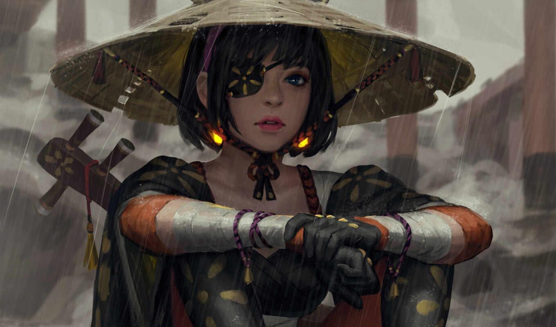 шляпа, asian, conical, самурай, глаз, женщина, девушка, патч, дождь