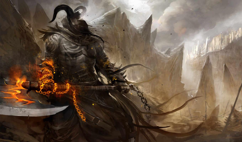 воин, демон, топор, демоны, рисунок, фэнтези, free, desktop, fantasy,