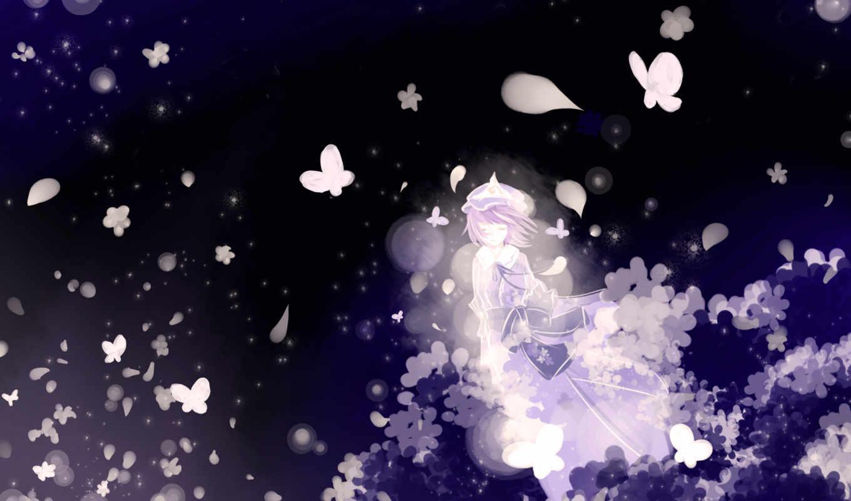 hair, touhou, saigyouji, yuyuko, pink, purple, short, eyes, hat, dress, video, closed, kimono, zerochan, butterfly, japanese, ribbons, games,