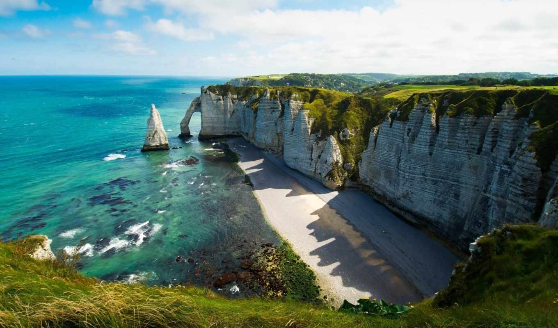 берег, океан, download, пляж, облака, free, арка, природная, desktop, скалистом, пляже, sea,