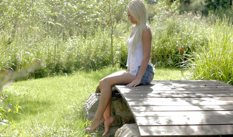девушка, природа, blonde, girls, красивый, anneli, очарование, мост, рубашка,