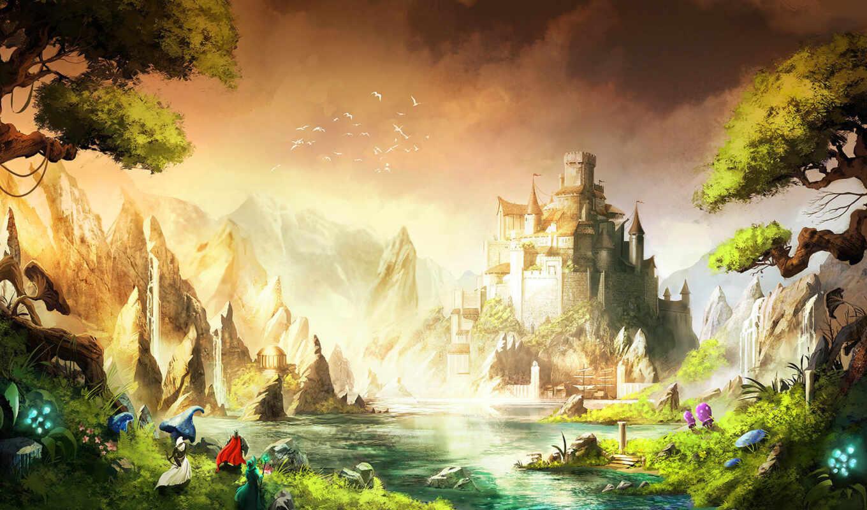 природа, fantasy, castle, коллекция, фэнтези, берег,