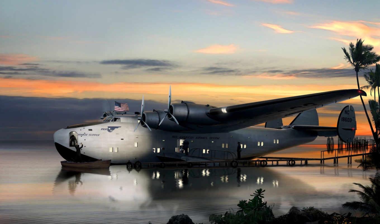 flying, art, boeing, американский, количество, лодка,