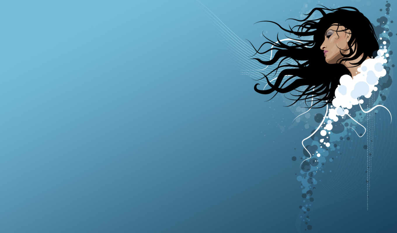 devushki, девушка, минимализм, синем, волосы, fone, голова, абстракция,