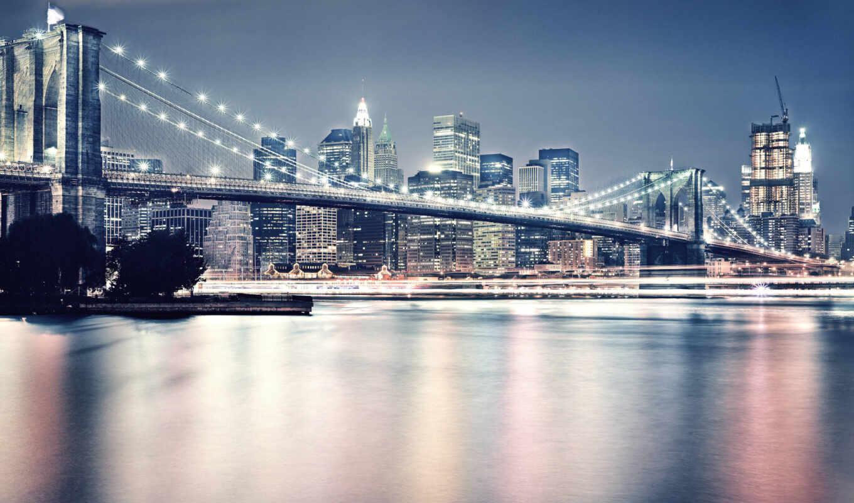 мост, нью, бруклин, york, new
