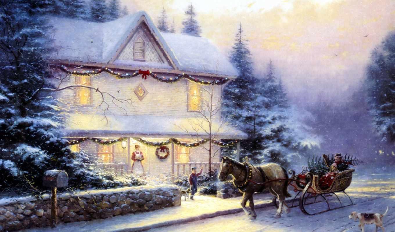 christmas, живопись, картина, люди, повозка, лошадь, thomas, kinkade, забор, дорога, украшенный, ели, коттедж, сани, каменный, собака, ёлка, picture, victorian, holiday, iv,