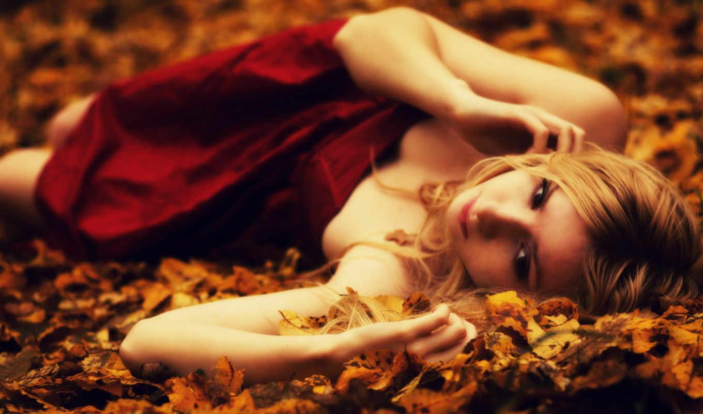 девушка, настроение, платье, красное, девушки, foliage, blonde, красное платье, так, грусть, similar, природа,