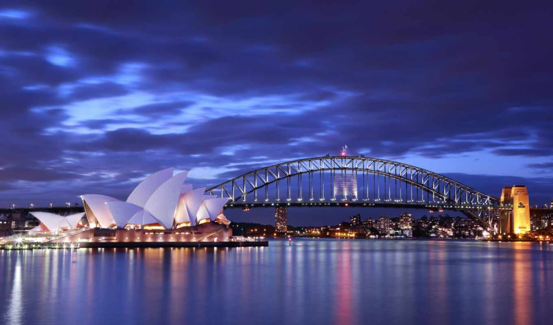 австралия, opera, сидней, мост, house, вечер, огни,