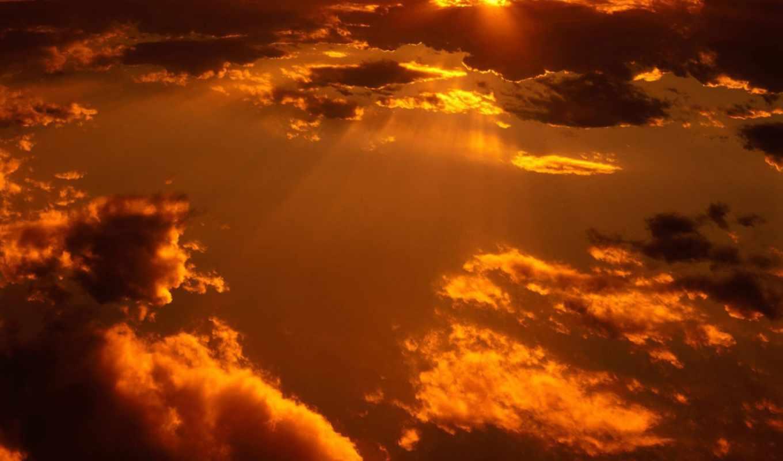 большие, солнца, облака, лучи, графика,