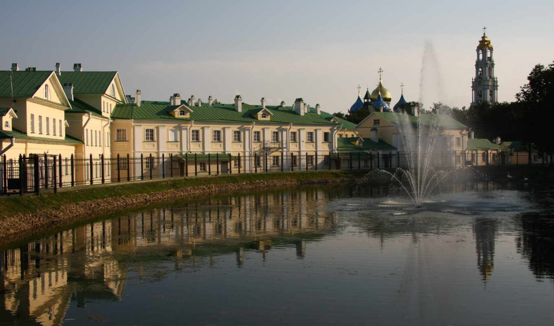 дома, fountain, water, отражение, church, город, решетка,