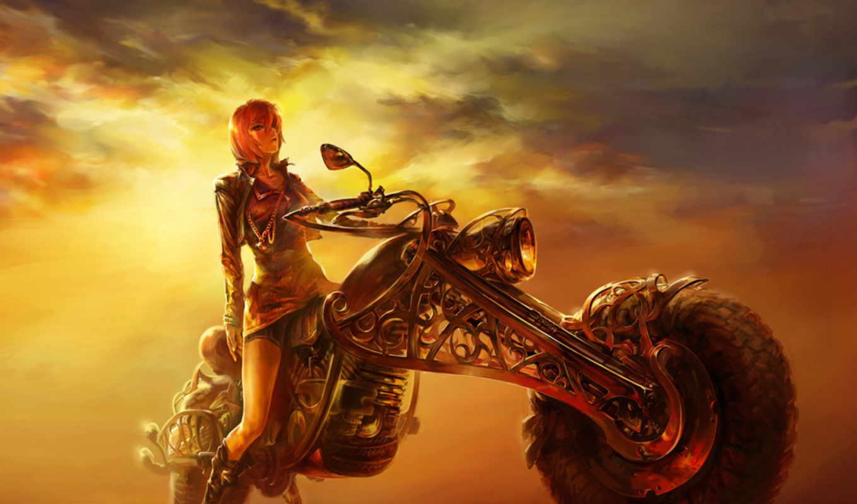 закат, мотоцикл, дорога, девушка, рисунок, вечер,