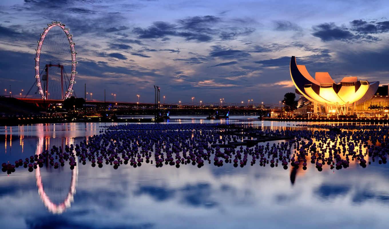 singapore, колесо, обозрения, мост, вечер,