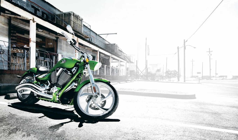 chopper, мотоциклы, мотоцикл, зелёный,