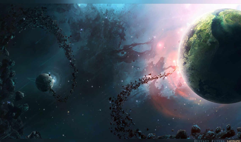 ,астеройды, туманность, universe, свечение,