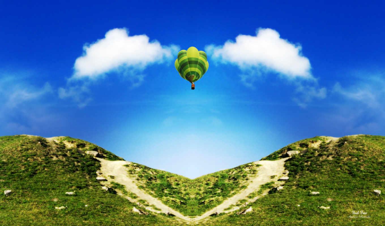 мяч, aerial, горы, природа, горах, холмами, зелёный, со, полет, admin,