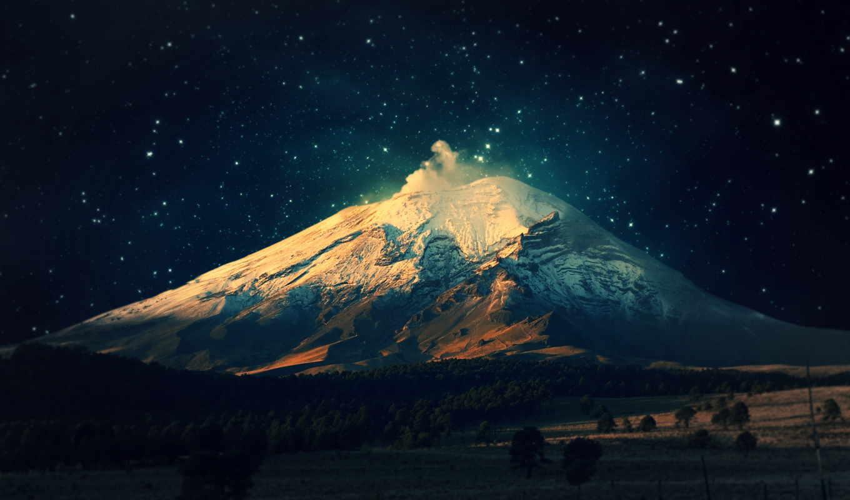 ,, небо, mountainous landforms, гора, стратовулкан, горный хребет, volcanic landform, атмосфера,, ночь,