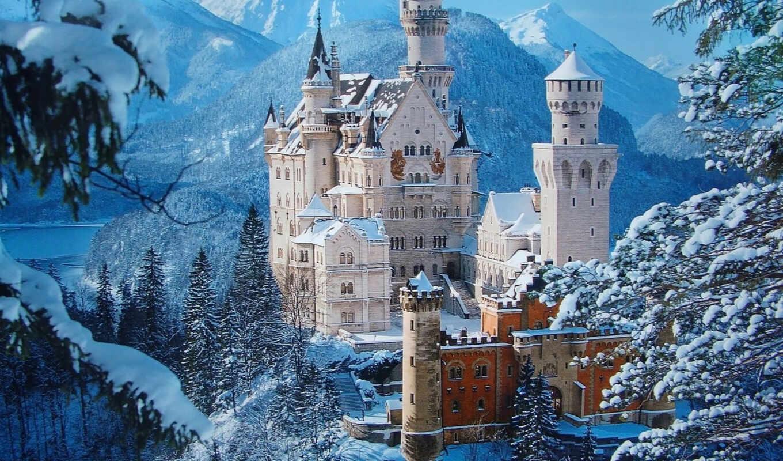 замок, castle, нойшванштайн, germany, mixed, incredible, города, desktop, winter, схема,