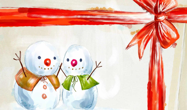 снеговики, подарок, год, новый, счастливые, смотрите, christmas, праздники, lovely,