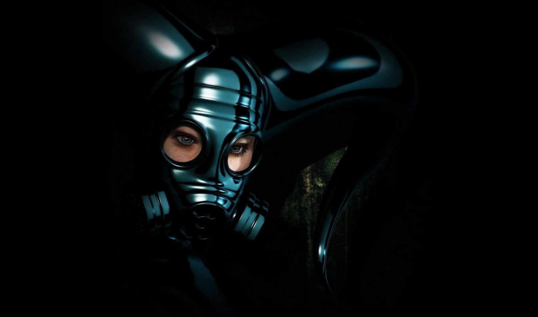 девушка, маска, шлем,