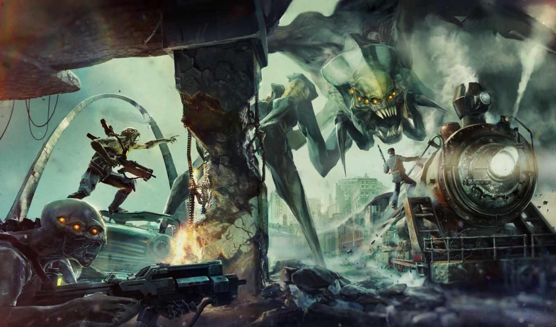 монстры, руины, человек, локомотив, твари, оружие, resistance, город,