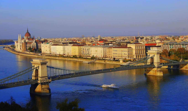 budapest, цепь, мост, город,