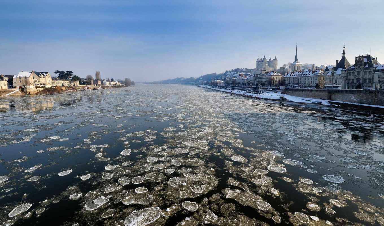 loire, река, views, frozen, pays, январь