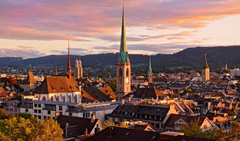 взгляд, крыши, города, здания, швейцария, цюрих, небо, город,