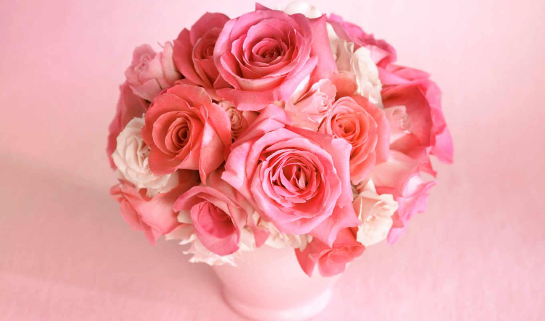 цветы, букет, розы, розовый, роза, color,