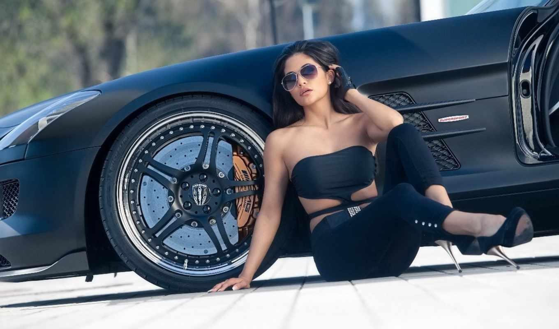 девушка, машины, fone, черном, автомобиля, очках, черной, devushki, sls, банка,