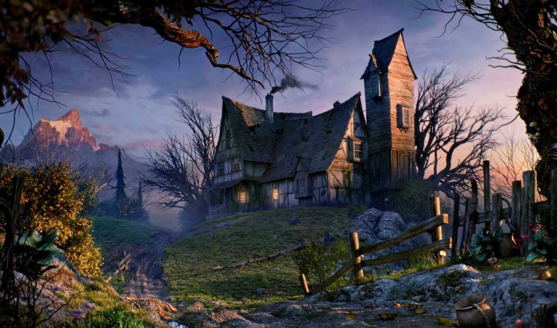house, дерево, дорогой, забор, гора, закат, дорога, fentezti, старый