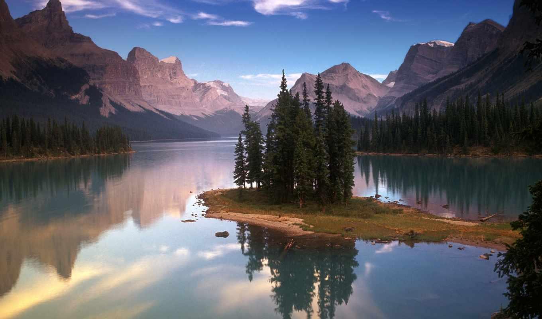 озеро, wallpaper, windows, горы, деревья, island, lake, inch, spirit, widescreen, maligne, пейзажи, to,