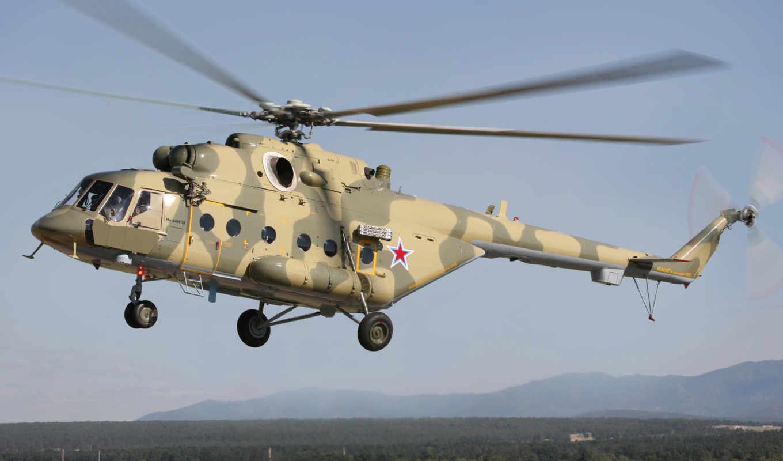 ми, многоцелевой, вертолет, полет, посадка, небо,