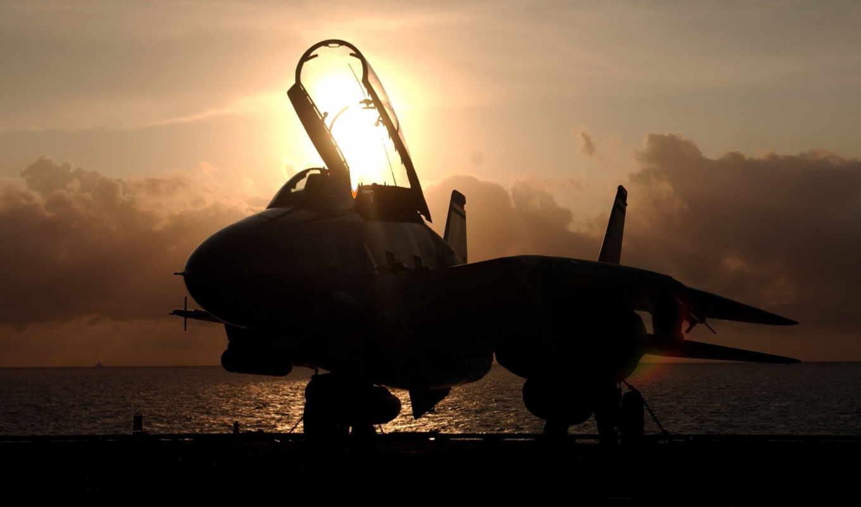 tomcat, закат, картинка, истребитель, самолёт,