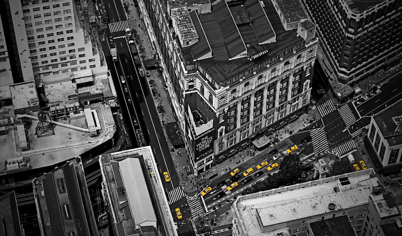 города, york, нью, чёрно, город, white, taxi, белое, дома,