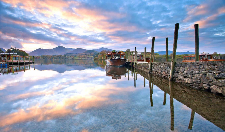 harbor, природа, boats, desktop, фон, лодка, you, горы, озеро,