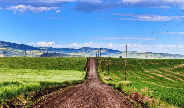 дорога, dirt, desktop, небо, поле,