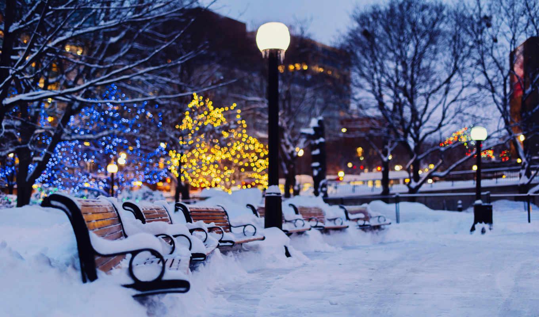 winter, город, вечер, снег, лавки, янв,