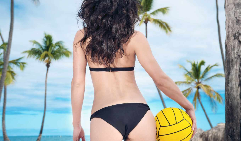 волейбол, мяч, девушка, попец, песок, пляж, купальник, пальмы, тропики, brunette, ocean,