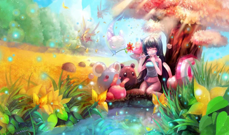 anime, девушка, природа, существа, дерево,