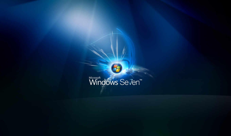 windows, se7en, лого, синий