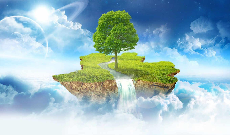 sala, mākoņos, island, clouds, floating, peldošā,