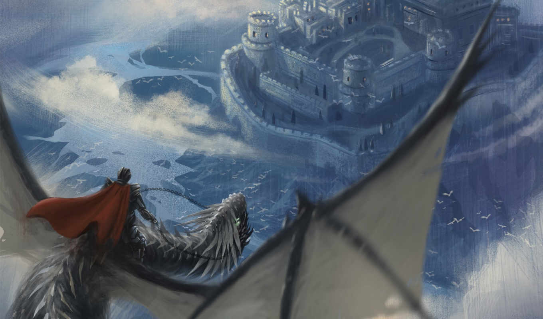 рисунки, полет, дракон, всадник, небе, арт,